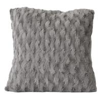 Grey cushion with faux fur 18x18''