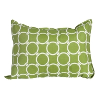 Green exterior cushion with white round patterns 14x20''