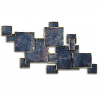 Abstract square metal wall decor 39 x 25,2 x 2,8''