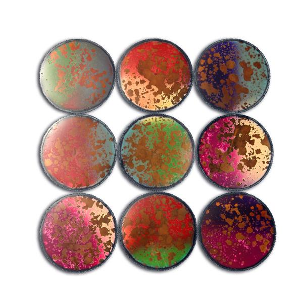 Décor Mural Cercles Colorés En Métal 354 X 354 X 08 Décors
