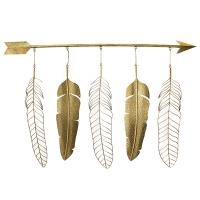 Décoration murale, plumes et flèches,  47 x 3.5 x 33.5''