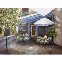 Flowery street scene canevas 36 x 48''