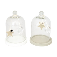 Star Print Bell Jar with grey wooden base 8 X 4 X 4''