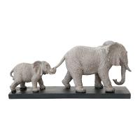 Éléphants en résine grise