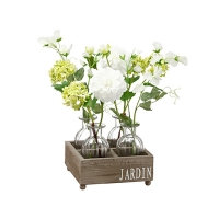 Flower bouquet in glasse with with wood box 14''