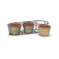 Set of moss pot in metal basket, 5 x 5 x 14''