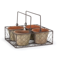 Set of quad moss pot in 9,5'' metal basket