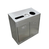 Steel bins for garbage and recycling, 3 x 3 x 1.3'