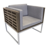 Cushion lounge chair, painted aluminium structure, brown