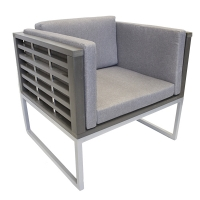 Cushion lounge chair, painted aluminium structure, grey