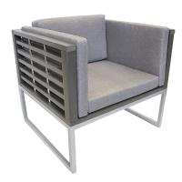 Fauteuil coussins gris, structure en aluminium peint 31,5 x