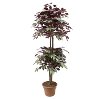 5' Atrificial tree, green & red ficus