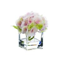 Fleur d'hydrangée rose dans vase de vitre 5,5''