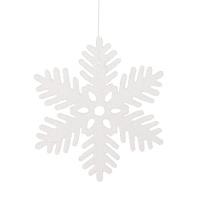 Glittered white snowflake, 11''