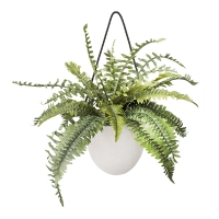 Artificial fern in hanging planter