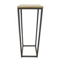 Table d'appoint, métal et bois, 13 x 13 x 37''