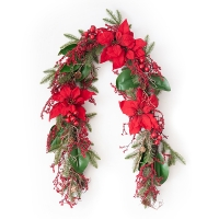 Pine Garland with Poinsettias and Red Berries, 6'