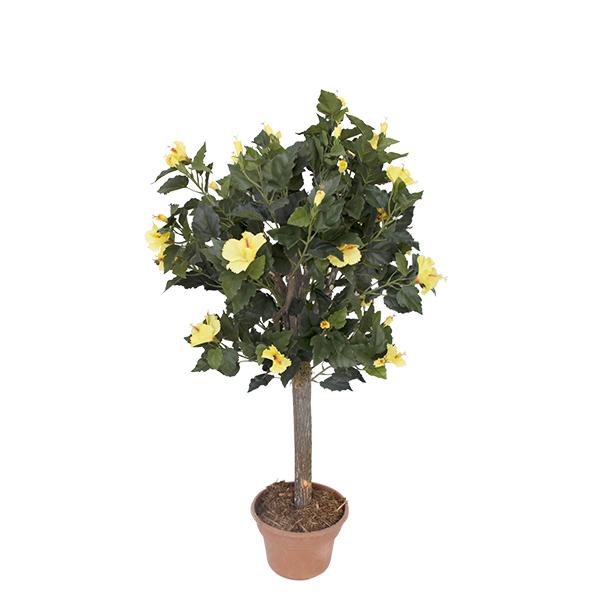 Plante artificielle hibiscus fleurs jaunes 4 39 d cors for Plantes soldes
