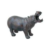 Hippopothame en résine, fini bronze