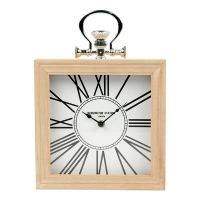 White Table Clock, 9.5 X 2.5 X 9.5''