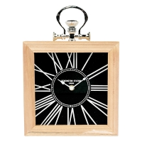 Black Table Clock, 9.5 X 2.5 X 9.5''