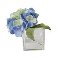 Hydrangée bleue dans vase de verre 5,5''