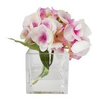 Hydrangée rose dans vase de verre 5,5''