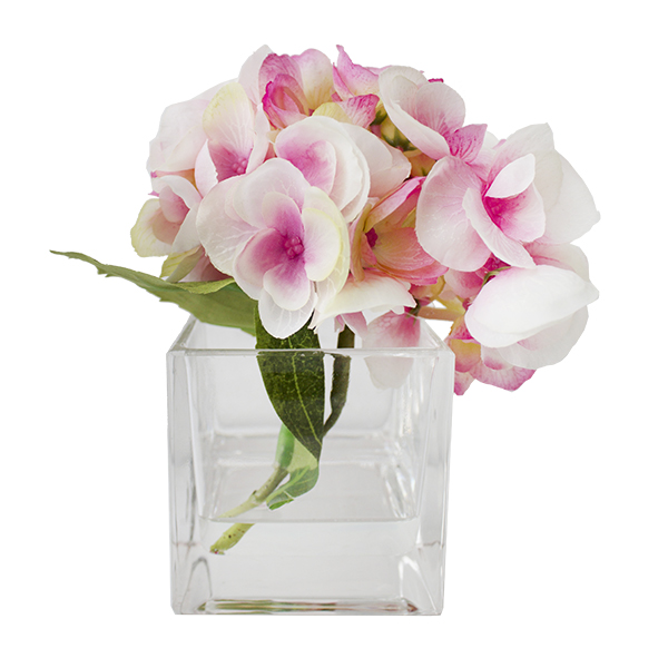 55 Pink Hydrangea In Square Glass Vase Veronneau Plants And Decor