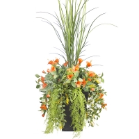 Orange hibiscus  and grass outdoor planter