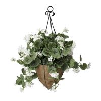 Jardinière suspendue, géraniums blancs 18 x 18'', garantie 2