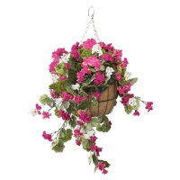 Jardinière suspendue, géraniums roses & blancs 18 x 18''