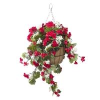 Jardinière suspendue, géraniums rouges & blancs 18 x 18'
