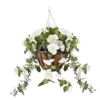Jardinière suspendue avec hibiscus blancs 18 x 18''