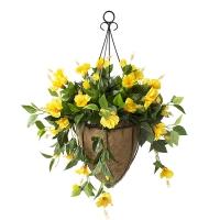 Jardinière suspendue, hibiscus jaunes 18 x 18'', garantie 2