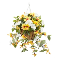 Yellow & white outdoor hibiscus hanging basket 18 x 18''