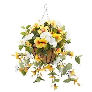 Jardinière suspendue, hibiscus jaunes & blancs 18 x 18''