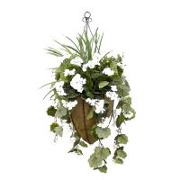 Jardinière suspendue conique géranium blanc