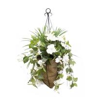 Jardinière suspendue conique hibiscus blanc