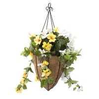 Yellow and white hibiscus conic hanging basket