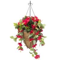 Jardinière surpendue conique hibiscus rouge