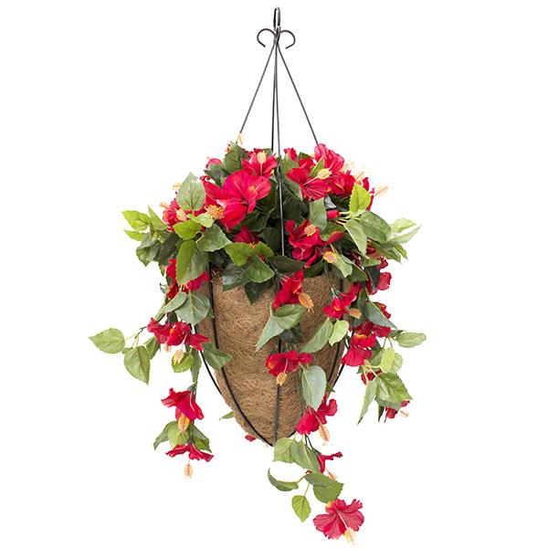 Jardini re surpendue conique hibiscus rouge d cors v ronneau for Hibiscus exterieur rouge
