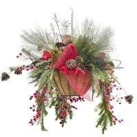 Christmas hanging basket arrangement 26 x 26 x 26''