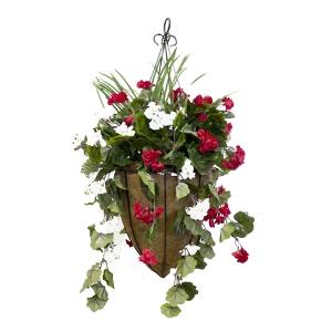 Jardini re suspendue g ranium rouge et blanc d cors for Plante a suspendre exterieur