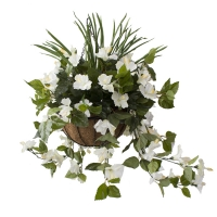 White outdoor hibiscus hanging basket 18 x 18''