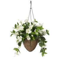 Jardinière suspendue avec hibiscus blancs 18 x 18'', garanti