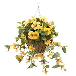 Jardinière suspendue, hibiscus jaunes 18 x 18''