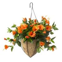 Jardinière suspendue, hibiscus oranges 18 x 18'', garantie 2