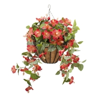 Orange outdoor hibiscus hanging basket 18 x 18''
