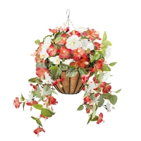 Jardinière suspendue, hibiscus orange & blancs 18 x 18'