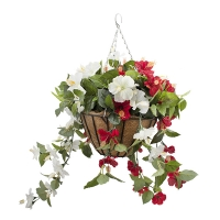Red & white outdoor hibiscus hanging basket 18 x 18''